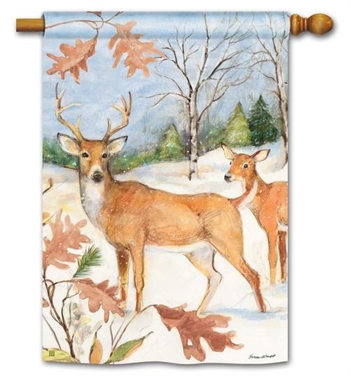 """Winter Deer House Flag - 28"""" x 40"""" - BreezeArt"""