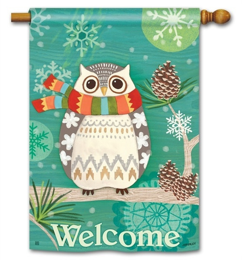 "Winter Owl House Flag - 28"" x 40"" - BreezeArt - 2 Sided Message"