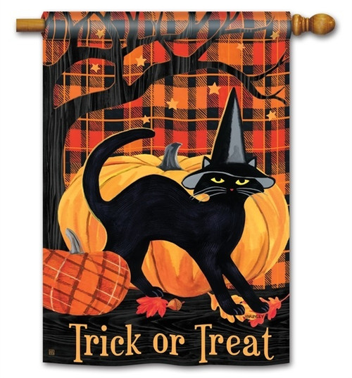 "Witch Hat Cat Halloween House Flag - 28"" x 40"" - BreezeArt - 2 Sided Message"