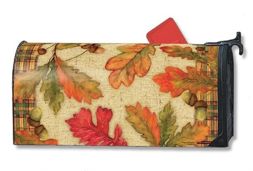 Burlap Leaves Magnetic Mailbox Cover