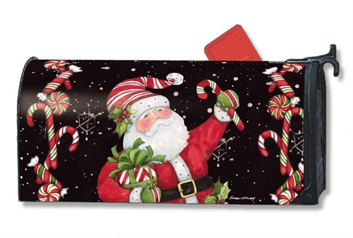 Candy Cane Santa Magnetic Mailbox Cover