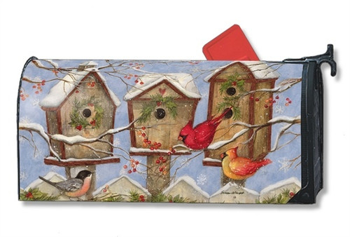 Wintery Birdhouse Magnetic Mailbox Cover