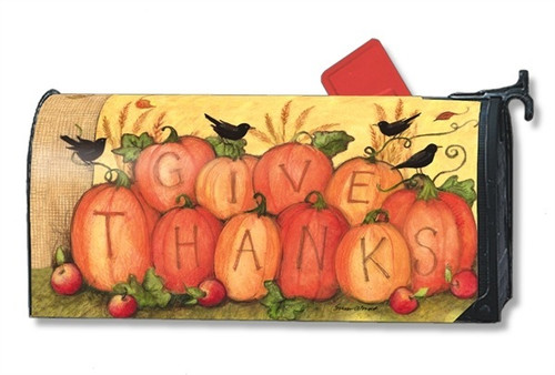 Give Thanks Scarecrow Magnetic Mailbox Cover