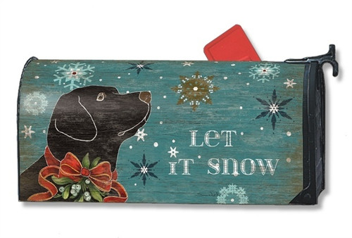 Let it Snow Lab Magnetic Mailbox Cover