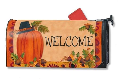 Pilgrim Pumpkin Magnetic Mailbox Cover