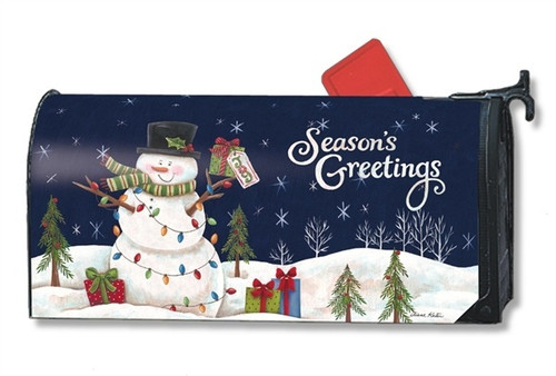 Snowman Lights Magnetic Mailbox Cover