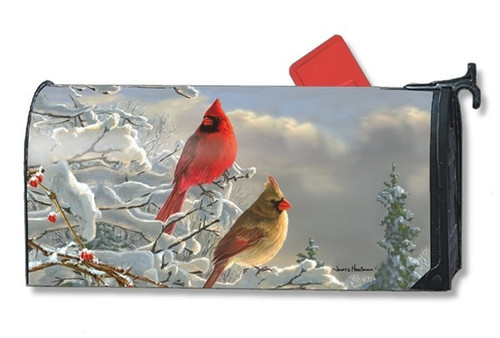 Winter Cardinals Magnetic Mailbox Cover