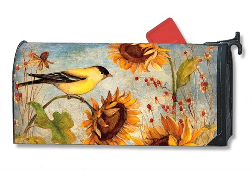 Yellow Finches Magnetic Mailbox Cover