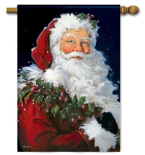 """Berry Santa Christmas House Flag - 28"""" x 40"""""""