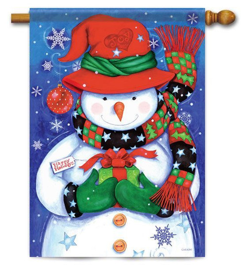"Snowman & Gift Winter House Flag - 28"" x 40"""