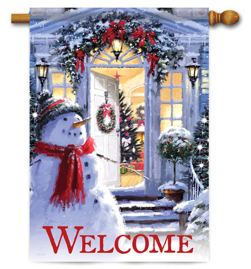 "Snowman Entrance House Flag - 28"" x 40"" - 2 Sided Message"