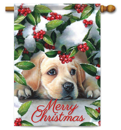 "Puppy & Berries Christmas House Flag - 28"" x 40"" - 2 Sided Message"