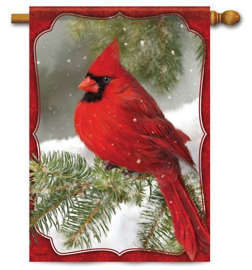 "Red Cardinal Winter House Flag - 28"" x 40"""