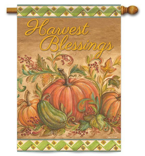 "Pumpkin Blessings Fall House Flag - 28"" x 40"" - 2 Sided Message"