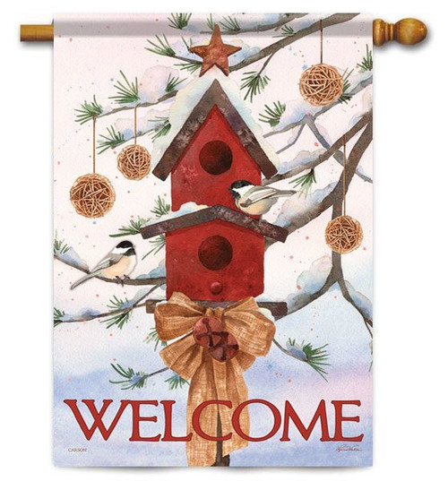 "Snow Pine Chickadees House Flag - 28"" x 40"" - 2 Sided Message"