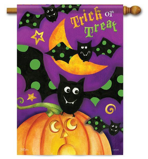 "Trick or Treat Bats Halloween House Flag - 28"" x 40"" - 2 Sided Message"