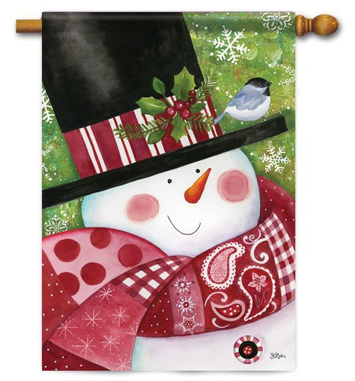 "Paisley Snowman Winter House Flag - 28"" x 40"""