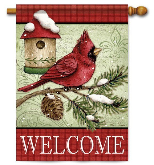 "Cardinal & Pine Birdhouse House Flag - 28"" x 40"" - 2 Sided Message"