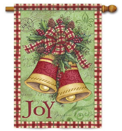 "Christmas Plaid Bells House Flag - 28"" x 40"" - 2 Sided Message"
