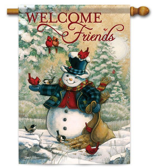 "Friends In Winter House Flag - 28"" x 40"" - 2 Sided Message"