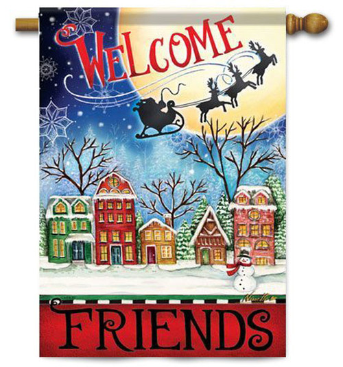 "Christmas Village House Flag - 28"" x 40"" - 2 Sided Message"