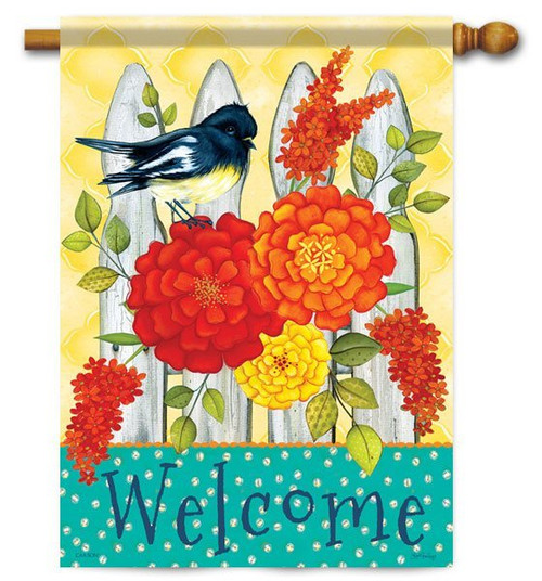 "Fence Greeting House Flag - 28"" x 40"" - 2 Sided Message"