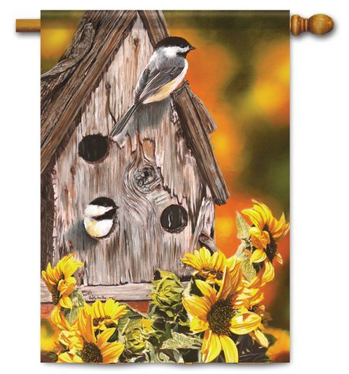 "Autumn Chickadees Fall House Flag - 28"" x 40"""