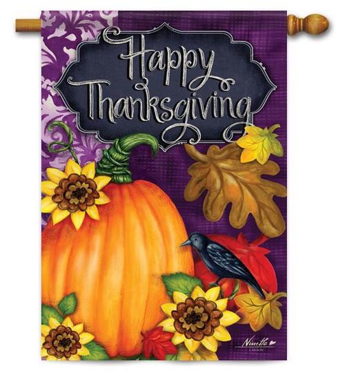 "Thanksgiving Pumpkin House Flag - 28"" x 40"" - 2 Sided Message"