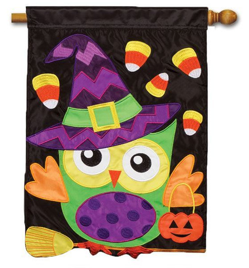"Trick or Treat Owl Applique House Flag - 29"" x 42"""