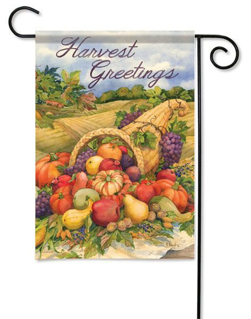 "Harvest Greetings Fall Garden Flag - 13"" x 18"" - 2 Sided Message"