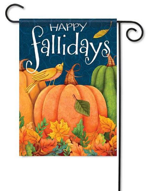 "Happy Fallidays Autumn Garden Flag - 13"" x 18"" - 2 Sided Message"