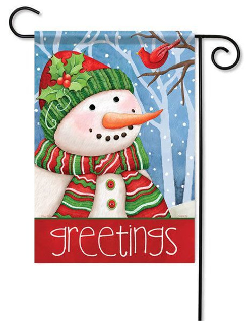 "Snowman Greetings Winter Garden Flag - 13"" x 18"" - 2 Sided Message"