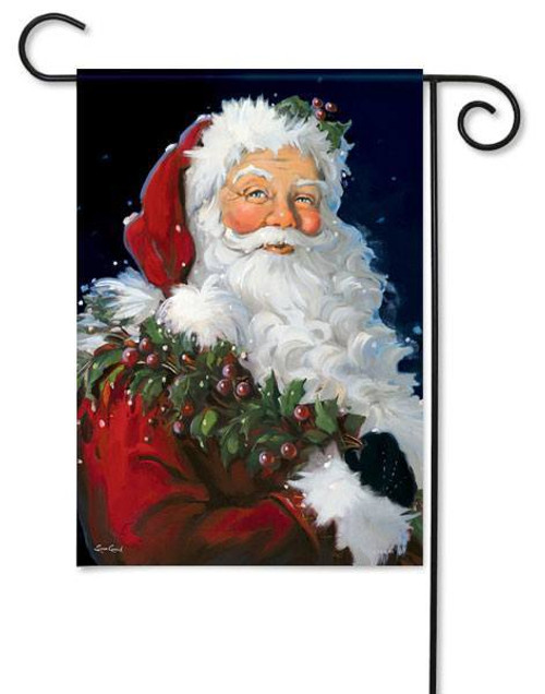 "Berry Santa Christmas Garden Flag - 13"" x 18"""