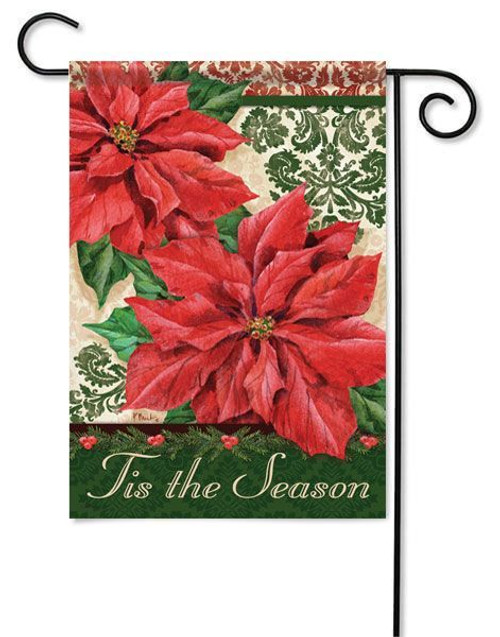 "Elegant Poinsettias Christmas Garden Flag - 13"" x 18"" - 2 Sided Message"
