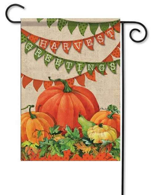 "Harvest Banner Fall Garden Flag - 13"" x 18"" - 2 Sided Message"