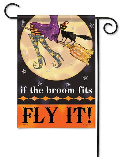 "Fly It Halloween Glitter Garden Flag - 13"" x 18"" - 2 Sided Message"