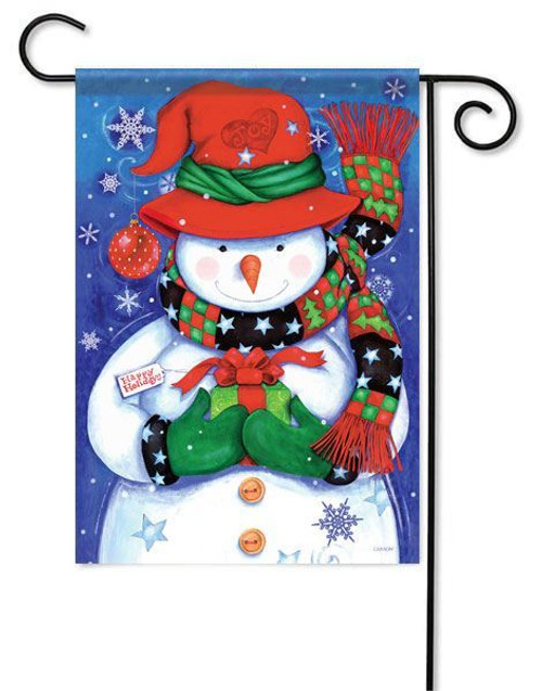 "Snowman & Gift Winter Garden Flag - 13"" x 18"""