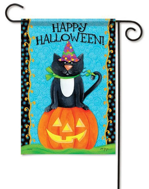 "Halloween Cat Garden Flag - 13"" x 18"" - 2 Sided Message"