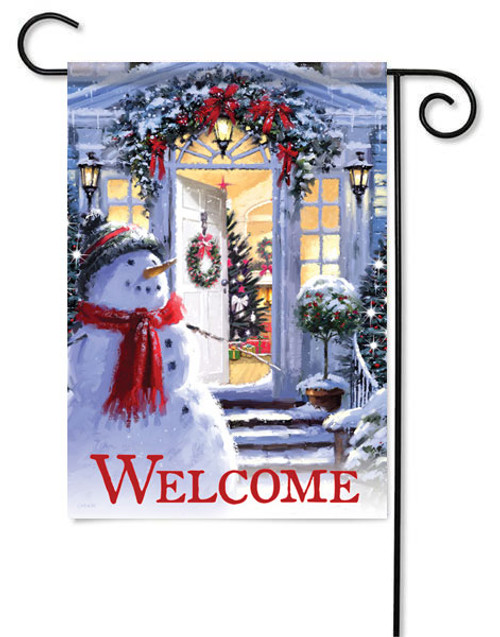 "Snowman Entrance Winter Garden Flag - 13"" x 18"" - 2 Sided Message"