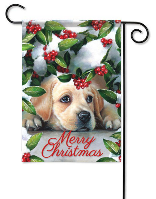 "Puppy & Berries Christmas Garden Flag - 13"" x 18"" - 2 Sided Message"