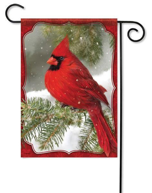 "Red Cardinal Winter Garden Flag - 13"" x 18"""