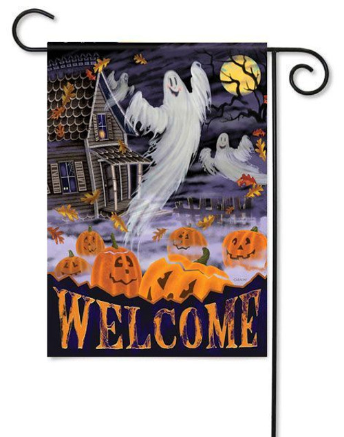 "Halloween Manor Garden Flag - 13"" x 18"" - 2 Sided Message"