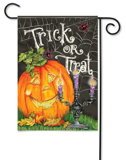 "Halloween Glow Glitter Garden Flag - 13"" x 18"" - 2 Sided Message"