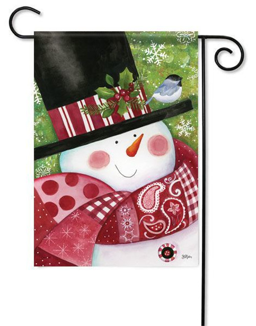 "Paisley Snowman Winter Garden Flag - 13"" x 18"""