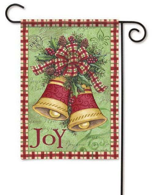 "Christmas Plaid Bells Garden Flag - 13"" x 18"" - 2 Sided Message"