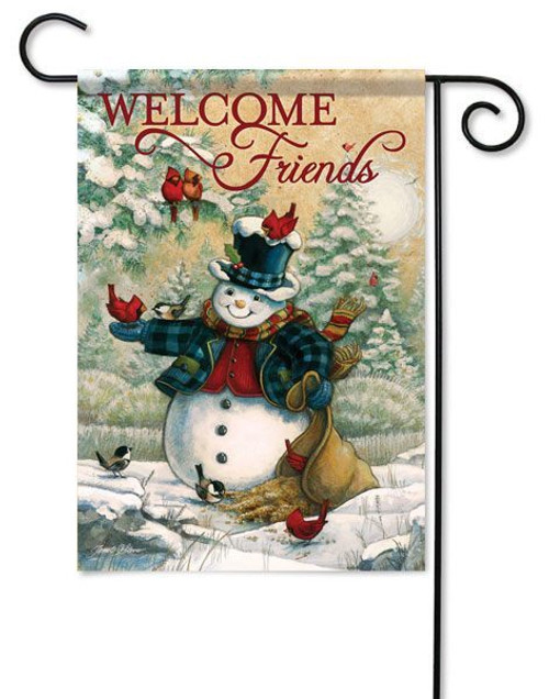 "Friends In Winter Garden Flag - 13"" x 18"" - 2 Sided Message"