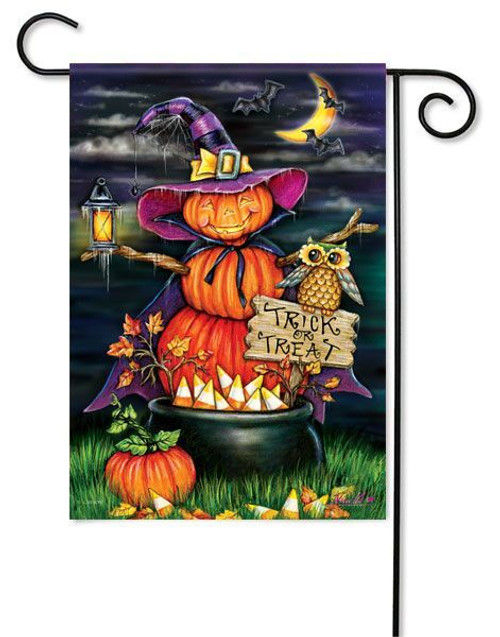 "Pumpkin Witch Halloween Garden Flag - 13"" x 18"" - 2 Sided Message"