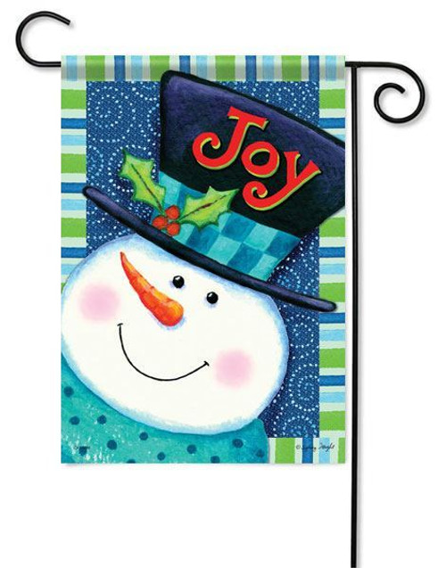 "Joy Snowman Garden Flag - 13"" x 18"" - 2 Sided Message"