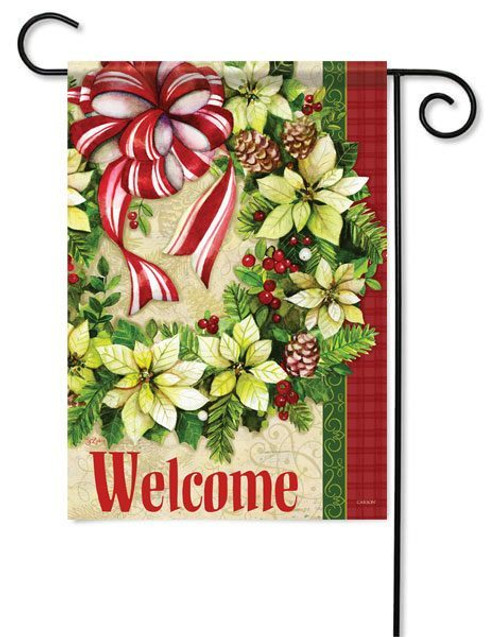 "White Poinsettia Wreath Glitter Garden Flag - 13"" x 18"" - 2 Sided Message"