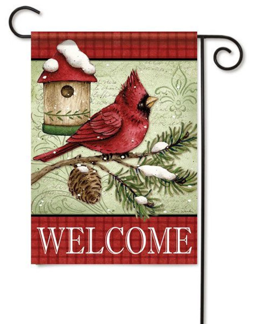 "Cardinal & Pine Birdhouse Garden Flag - 13"" x 18"" - 2 Sided Message"